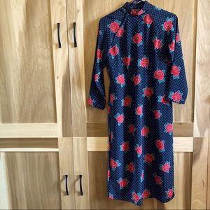 Mandarin Collar 3/4 sleeve Long Rose-print Tunic